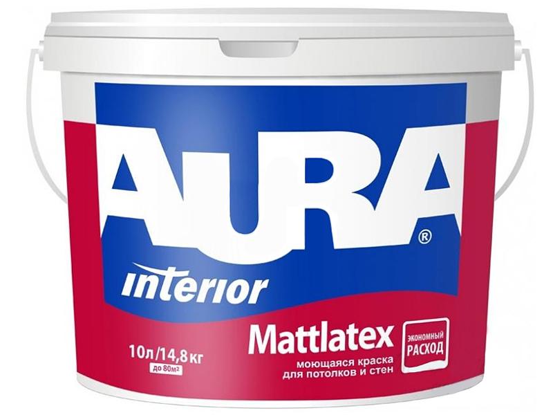 Моющаяся краска для стен и потолка AURA Mattlatex(10л)