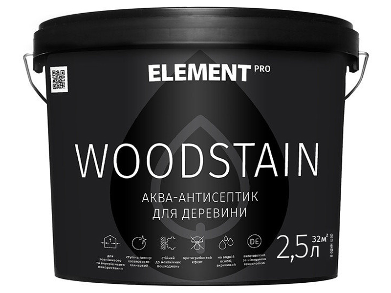 Антисептик для древесины белый ELEMENT Pro Woodstain (0,75 л)